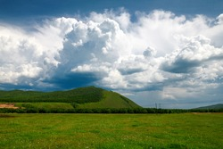 The wild flowers and cloudscape in summer grassland of Hulunbuir of China.