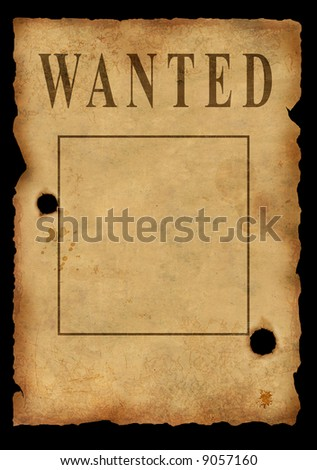 The wild West. The old poster about search of the criminal - stock photo