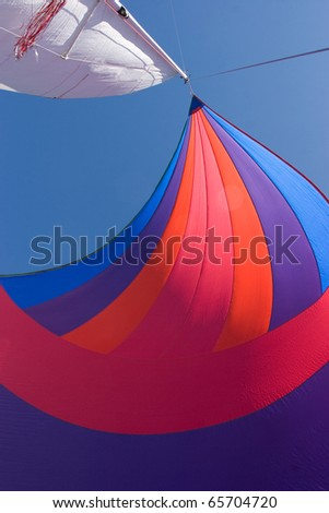 The wind has filled the spinnaker on this sailing yacht.  The colors of this image are quite vibrant against the deep blue sky.  It could also make a great horizontal shot depending on your needs.