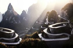 The winding road of Tianmen mountain national park, Hunan province, China