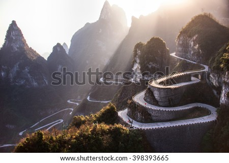 Shutterstock The winding road of Tianmen mountain national park, Hunan province, China