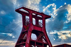 The winding tower of the Zollverein coal mine in Essen