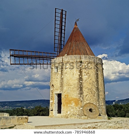 The windmill made famour by the writings of Alphonse Daudet at Fontvieille, Bouches du Rhone in Provence and painted by Vincent Van Gogh