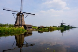 The windmills of Kinderdijk in South Holland, Netherlands