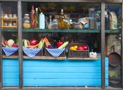 The window display of an organic restaurant in Novi Sad, Serbia.