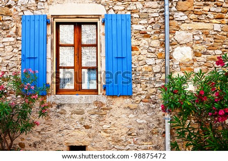 The Window on the Facade of French Stone House