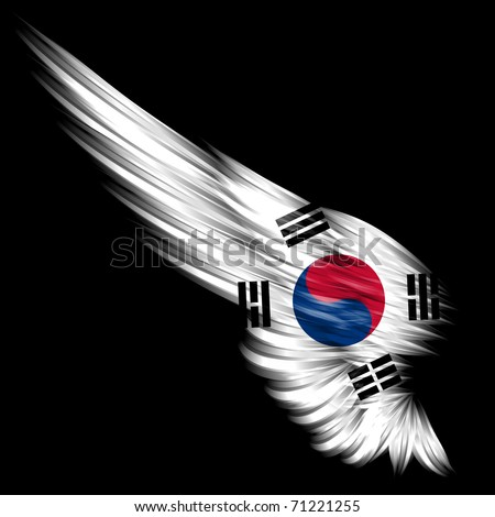 The Wing with South Korea flag on black background
