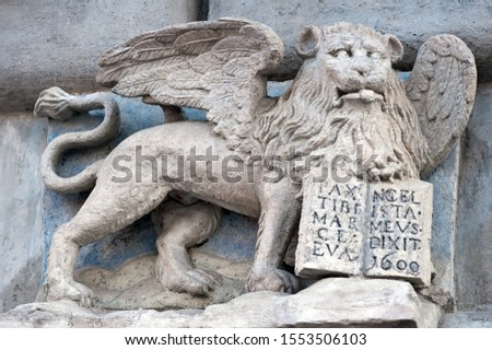 The winged Mark Lion holding gospel with inscription PAX TIBI MARCE EVANGELISTA MEVS (May Peace be with you Mark my evangelist) in Lviv, Ukraine #1553506103