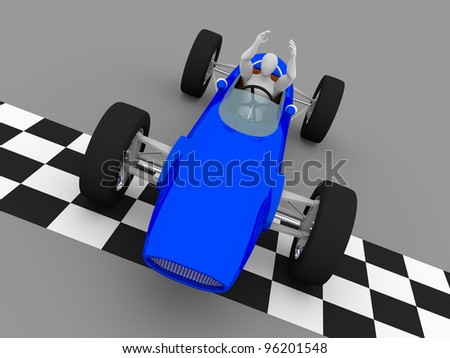 the winning driver raises his arms in the finish line of a car race