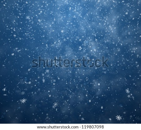 The winter background falling snowflakes