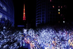 The winter illuminations event during the period of christmas eve in Tokyo.