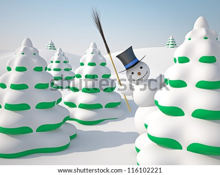 The winter landscape with trees and snowman
