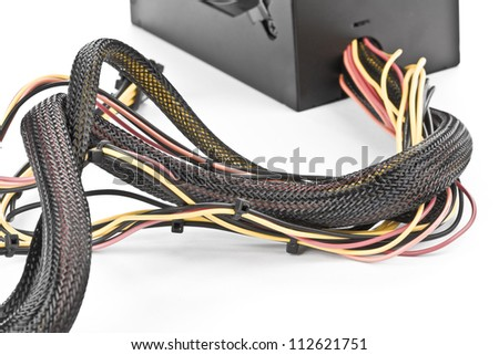 The wires of the computer power and color