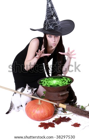 the witch expresses the incantation over its own kettle