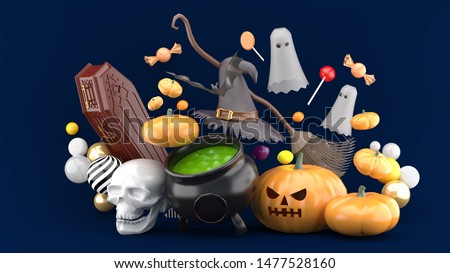 The witch pot is surrounded by golden pods, skulls, bats, funerals, ghosts and witches on a blue background.-3d rendering.
