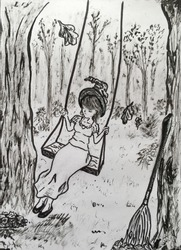 the witch swings on the swing