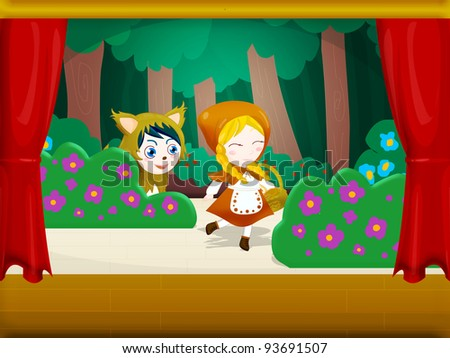 the wolf sees Little Red Riding Hood in the woods