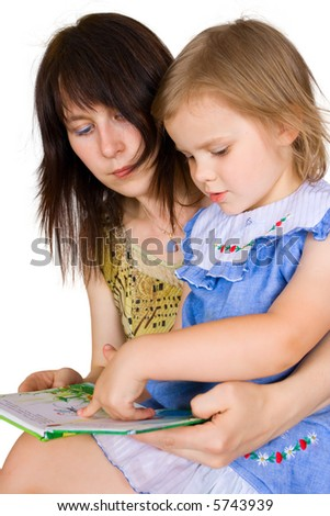 The woman with the girl read the book on an isolated background
