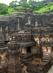 The wonder of Kailasa the Cave no. 16 of Ellora cave, a rock-cut monolithic temple. Ellora temple is  religious complex with Buddhist, Hindu and Jain cave temples and monasteries, India.