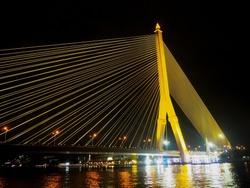 The wonderful of Rama VIII Bridge and  Chaopraya river ,Bangkok Thailand