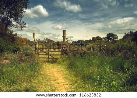 the wood gate in the field