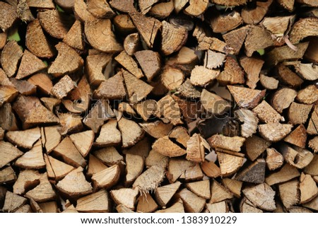 The wood piled up the piles in the village of the china