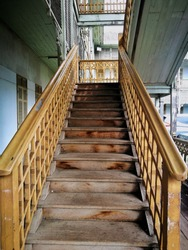The wood Stairway in old house