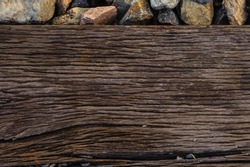 The wood that support old railway closeup texture