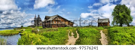 The wooden buildings of the ancient Russian architecture on Kizhi Island