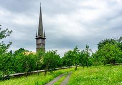 The wooden church in Surdesti in Maramures Region in Romania