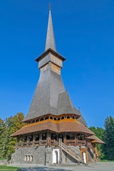 The wooden church of the Săpânța-Peri Monastery, Maramures, Romania. With a total height of 78 m it is the tallest wooden church in the world. Built in neo-gothic style.