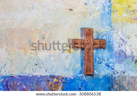 the wooden cross on oil painted ...