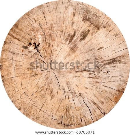 The Wooden cutting board isolated on white background