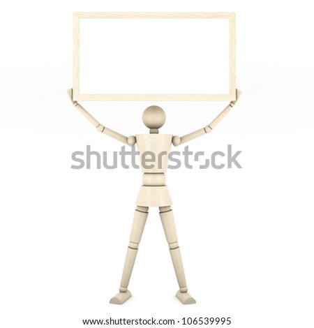 The wooden doll with color pencil on white background 3d illustration