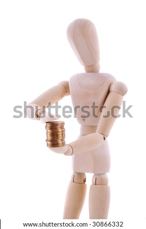 The wooden figure holds coins.Isolated on white
