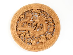 The wooden figure of the traditional mythological dragon, souvenir gift, China, in isolation