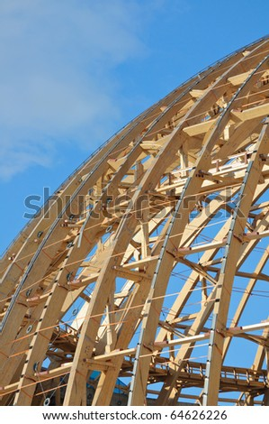 The wooden frame of the dome.