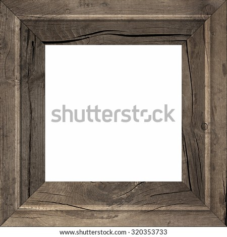 The wooden frame of the old boards on a white background