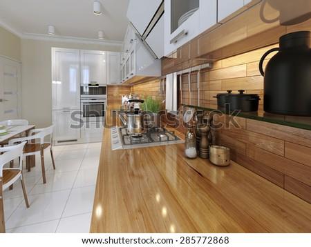 The wooden kitchen worktop with kitchen accessories. 3d render.