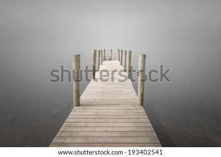 The wooden landing stage at Ashness Bridge on Derwent Water, near Keswick in the Lake District, Cumbria #193402541
