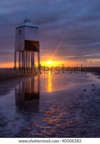 The wooden lighthouse at Burnham-on Sea, Somerset - sunset.