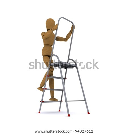 The wooden man climbs a ladder. Front view. 3D rendering