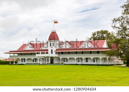 The wooden Royal Palace of the Kingdom of Tonga in the capital of Nukualofa (Nukuʻalofa), Polynesia, Oceania, South Pacific Ocean. Built in 1867, the official residence of the King of Tonga. #1280904604