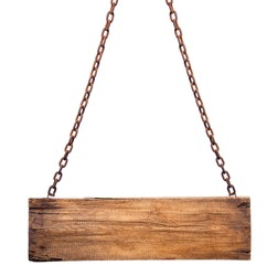 The wooden sign on the chain. Isolation is not white