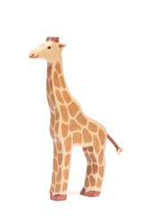 The wooden toy of Giraffe for kids side view isolated white background at the studio.