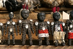 The wooden voodoo dolls in Akodessewa Fetish market in Togo.