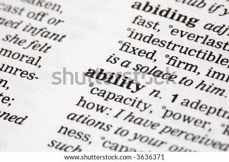 The word ability written into a thesaurus