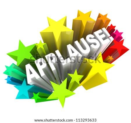 The word Applause surrounded by colorful stars to symbolize support, enthusiasm, approval, ovation,  or other positive reaction or feedback