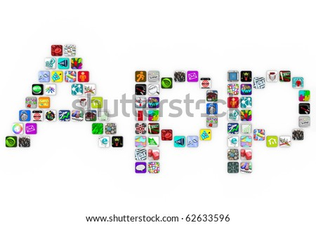 The word Apps spelled out in app icons on a white background