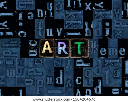 The word Art as letters, unique typeset symbols over abstract mosaic pattern background